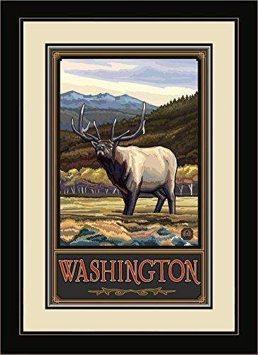 Northwest Art Mall pal-0078mfgdm wyeh Washington Pfeifen Elk Hills gerahmtes Wandbild Art von Künstler Paul A. lanquist, 13von 40,6cm -