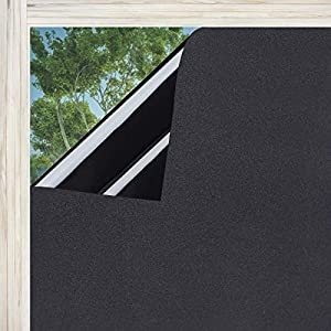Lifetree Fensterfolie Sichtschutzfolie Blickdicht Statische Folie für Schlafzimmer Badezimmer 45 x 200 cm Schwarz