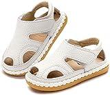 Gaatpot Unisex-Kinder Sandalen Mädchen Jungen Kindersandale Geschlossene Baby Sommer Leder Sandale Lauflernschuhe Schuhe Weiß(Baby) 20 EU/16 CN