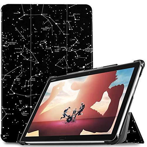 IVSO Hülle für Huawei MediaPad M5 Lite 10, Ultra Schlank Slim Schutzhülle Hochwertiges PU mit Standfunktion Ideal Geeignet für Huawei MediaPad M5 Lite 10 10.1 Zoll 2018 Modell, Ink Constellation