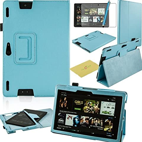 Fulland Magnetic Folio PU Leather Smart Stand Case Cover with Auto Sleep/Wake Function for Amazon Kindle Fire HDX 8.9 (2013 Version) plus bonus Stylus Pen and Screen Protector-Sky Blue