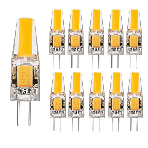 10 Stück Glühbirne 2 Watt DC 12V G4 LED Lampe 210 Lumen, 2800K Warmweiß, COB LED Ersetzt 20W Abstrahlwinkel 260º, AC DC 12V, Ø9,6 x 37,5mm