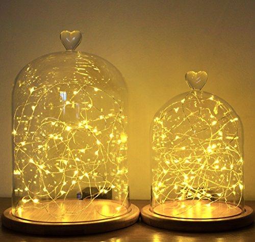 Cristal Campana | campana de cristal | de cúpula de pantalla Base de bambú | 2tamaños | cadena lámpara de luz, vidrio, normal