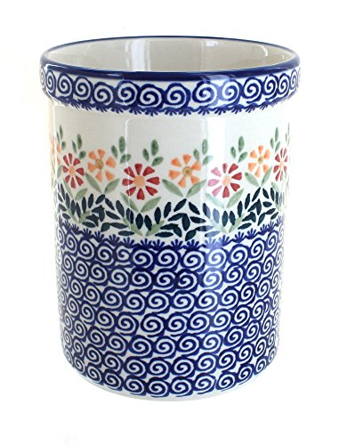 polish-pottery-garden-bouquet-utensil-jar-by-blue-rose-pottery