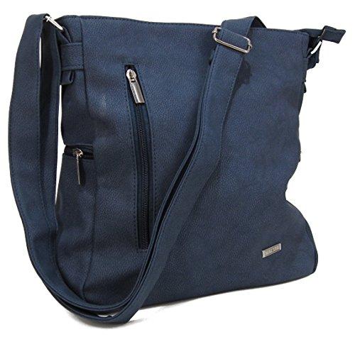93531f264cec1 STEFANO moderne Damen Umhängetasche Schultertasche Frauen Handtasche soft  PU verschiedene Modelle M2 - Blau