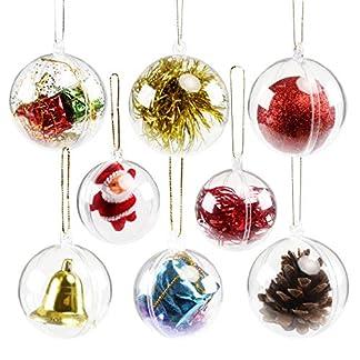 GWHOLE 15 Piezas de Bola de plástico Transparente rellenable para decoración de árbol de Navidad en 4 cm, 5 cm, 6 cm