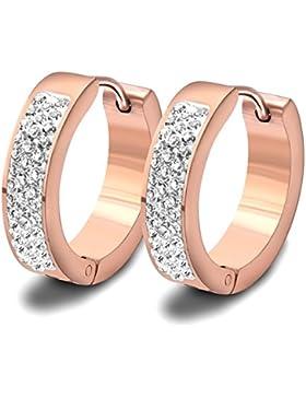 Findout Damen 14K Rose Gold Überzogene Titan Stahl Cubic Zirkone Klassische einfache Kreis Ohrringe Ohrclip, für...