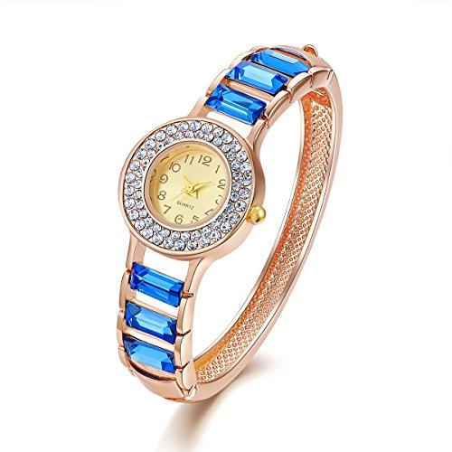 Frauen blaue Stulpe Armreif Armband mit Kristall und Rose Gold Damen Quarz Legierung Armbanduhr für Mädchen Valentine Geburtstag Weihnachten Hochzeitstag Geschenk Perimeter:20.3cm,Oven Moda -