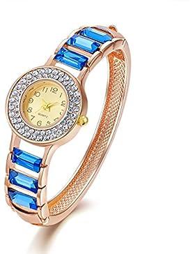 Frauen blaue Stulpe Armreif Armband mit Kristall und Rose Gold Damen Quarz Legierung Armbanduhr für Mädchen Valentine...
