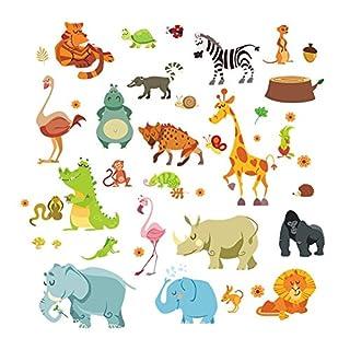 awakink Jungle Wild Animal Zebra monkeyn Löwe Giraffe Elefant Dinosaurier Wand Aufkleber Wand Aufkleber Vinyl Abnehmbare Kunst Wandaufkleber für Mädchen und Jungen Kinderzimmer Kinder Schlafzimmer