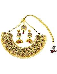 SJ Designer Collection Gold Color Necklace Set For Women,SJ-2