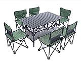 ROOKLY Esterna Pieghevole Campeggio Tavolo Lega Di Alluminio Con 6 Sedie Attrezzatura Da Viaggio Per La Famiglia Per Il Pranzo In Giardino
