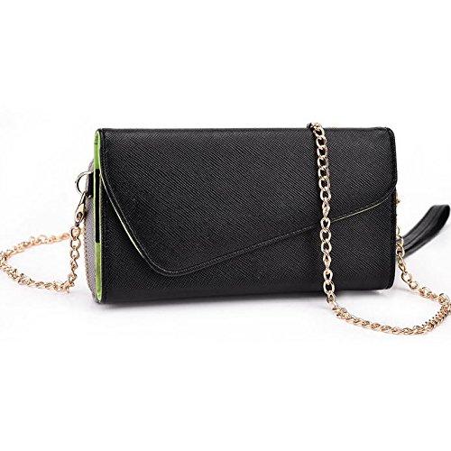 Kroo d'embrayage portefeuille avec dragonne et sangle bandoulière pour Yezz Billy 4.7/Monaco 47 Multicolore - Black and Violet Multicolore - Noir/gris