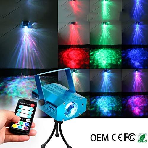 Discokugel, LED-Fernbedienung 7 Farben-Wasser-Muster Flamme Licht Dynamische Ozean-Wasser-Ripple Effect Licht for Disco KTV Bar Stage Disco F1 -