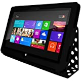 iZKA® - Microsoft Surface Multi Function Leather Case Cover and Flip Stand Typing Case Wallet + Stylus Pen Touch Screen Pen + Screen Protector (Fits Both Microsoft Surface RT & Windows 8 Pro) 10.6 inch Tablet - Polka Dot Black