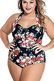 YACUN Damen One-pieces Bikini Plus Size Badeanzug Retro Floral Schulterfreien 8 XXL