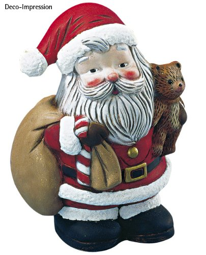 por-Weihnachtsmann m. Bär, 17,5 cm (Große Weihnachtsmänner Zum Verkauf)