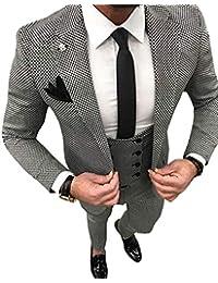 Solove-Suit Männer 3 Stück Kerbe Revers Slim Fit Plaid Männer Anzug Bankett  Jacke Hochzeit… a5fd738095