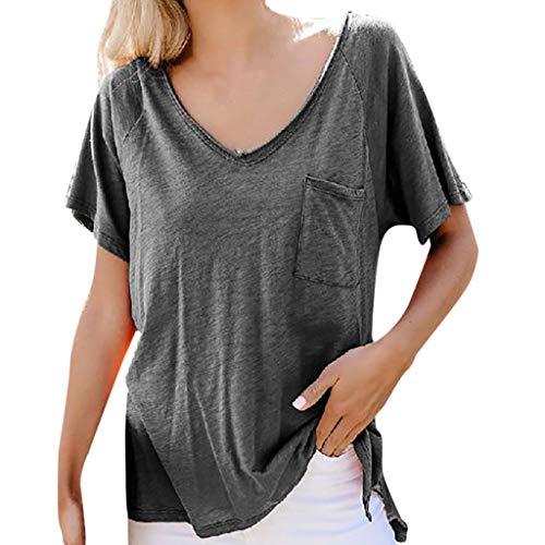 T-Shirt Damen Casual Tops Einfarbig V-Ausschnitt Tasche Kurzarm Shirt Frauen Sommer Classics Bluse Bequem Oberseiten(Grau,L5) -