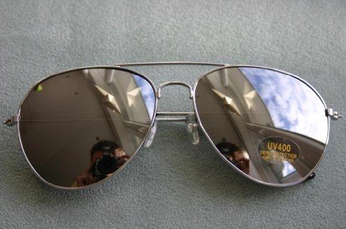 Klassische Pilotenbrille verspiegelt, silber