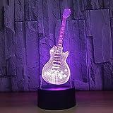 3D Visuel Led Mode Musique Guitare Électrique Forme Lampe De Table Usb 7 Couleurs Changeantes Lumière De Nuit Cadeaux Chambre Luminaires Décor
