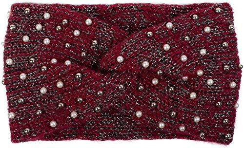 styleBREAKER Damen Strick Stirnband mit Perlen, Metallic Garn und Knoten, Haarband, Headband 04026029, Farbe:Bordeaux-Rot-Schwarz -