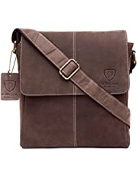 100% Pure Genuine Real Vintage Hunter Leather Handmade Mens Leather Flapover Everyday Crossover Shoulder Work iPad Messenger Bag