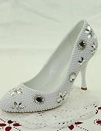 WSS 2016 Zapatos de boda-Tacones-Tacones-Boda / Vestido / Fiesta y Noche-Blanco-Mujer . 3in-3 3/4in-white