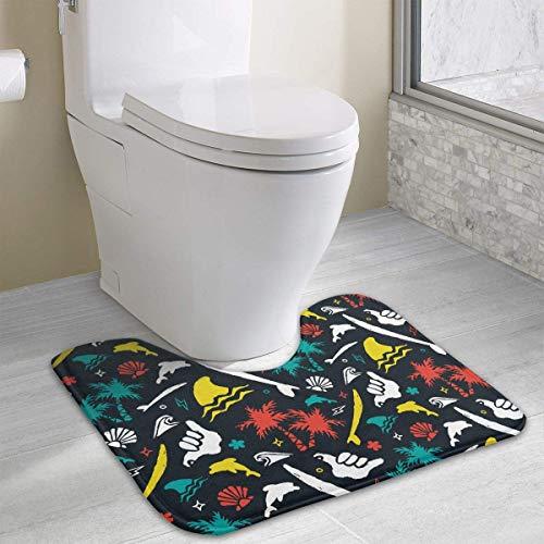 Hoklcvd Buntes Surfer-Muster U-förmige Toiletten-Boden-Wolldecke Rutschfeste Toiletten-Teppiche Badezimmer-Teppich - Wein Multi-teppiche
