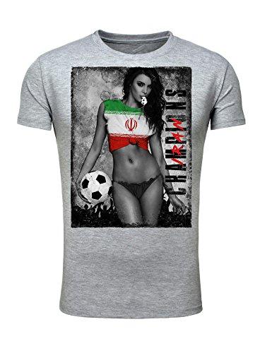 Legendary Items Herren T-Shirt WM 2018 Trikot Sexy Girl Frau Fußball Weltmeisterschaft Vintage Grau Iran