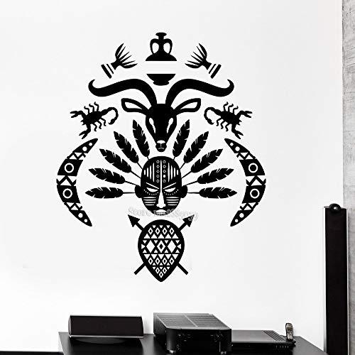 Yaoxingfu maschera africana simbolo adesivi murali più nuovo creativo tribale fresco murale decalcomania del vinile soggiorno camera da letto home decor adesivi murali l giallo 56x64 cm