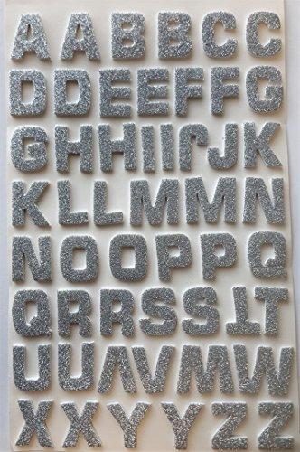 Glitterati Schaumstoff-Aufkleber, 3D-Effekt, selbstklebend, Motiv: Alphabet, Buchstaben-Aufkleber, silbern glitzernd, 52Stück (Alphabet Buchstaben 3d)