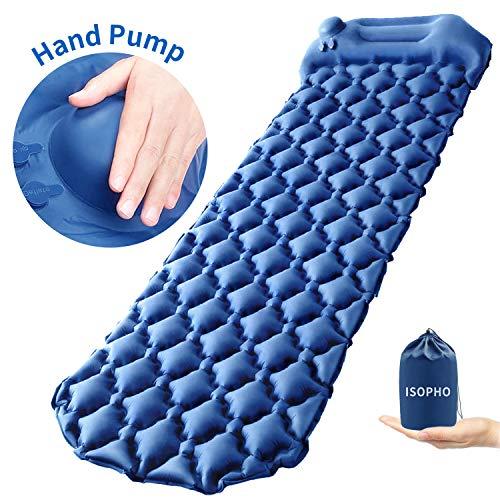 ISOPHO Isomatte Camping Selbstaufblasende Handpresse Isomatte Aufblasbare Luftmatte Ultraleicht, langlebige wasserdichte Schlafmatte zum Outdoor, Campen, Wandern,Reise, Strand