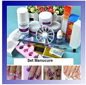 Kit Set Manucure ongles acrylique vernis strass lime colle stickers complet