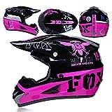 CFYBAO Motocross Helm Mit Geschenke Brille Maske Handschuhe Fox Moto Racing Vollgesichts Helm Für Mann Und Frau,Pink,M