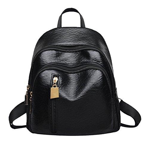 Vintage Rucksack Casual Daypack Für Frauen Schultasche Für Mädchen,Black-M