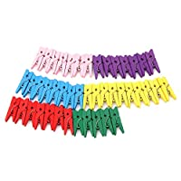 starnearby 50 Mini Wooden Craft Pegs Clothes Paper Photo Hanging Spring Clips 25mm Mu