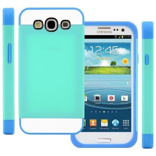 Vandot 1x TPU Silikon Strass Glitzer Hülle Hüllen Schutzhülle Tasche Etui Protection Case Protective Cover für Samsung Galaxy S3 S III I9300 I9305 Hellblau+Blau+Weiß