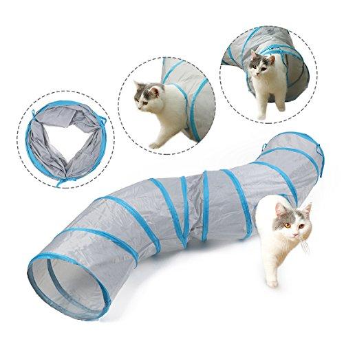Pawz Road Katzentunnel Kätzchen Spielzeug Pet Play Tube S Tunnel zusammenklappbar Trabar Grau 120 cm