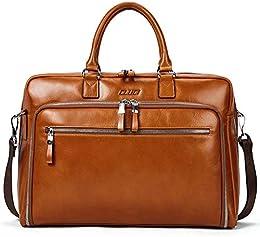 suchergebnis auf amazon de f�r businesstasche damen aktentaschen  aktentasche herren damen �lwachs echte leder vintage businesstasche f�r 15 6 zoll laptop arbeiten umh�ngetasche braun