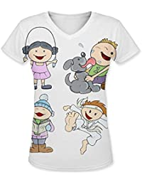 Snoogg Cute Cartoon Kids Womens Casual V-Neck All Over Printed T Shirts Tees
