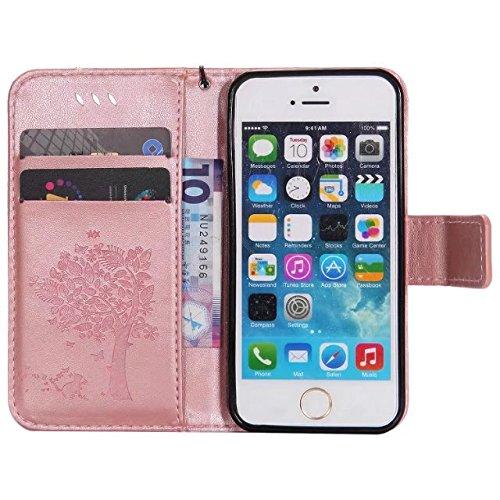 Solid Color Premium PU Ledertasche Prägeart Pattern Flip Stand Case Hülle mit Karte und Bargeld Schlitze für iPhone 5 5S SE ( Color : Green ) Rosegold