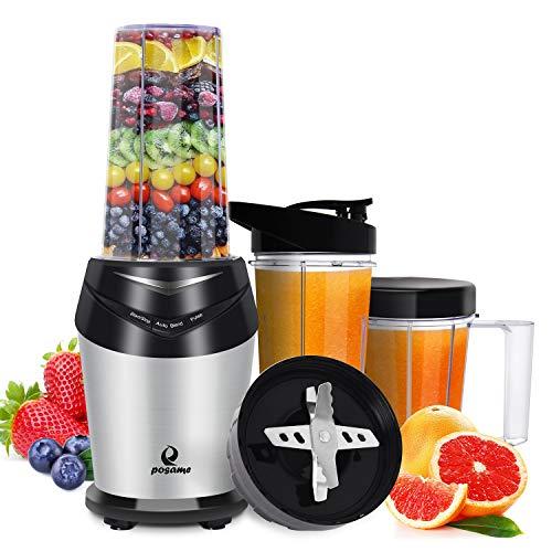 POSAME Standmixer hochleistung Smoothie Maker 1000W Mixer Edelstahl Blender Küchenmixer mit 23,000 U/min, 6 Edelstahl-Klingen und 3 BPA-freie Tritan Behälter in Schwarz/Silber