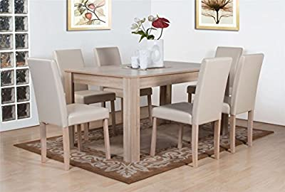 Dover White Oak Effect Wooden Dining Table and 6 High Back Chair Set - low-cost UK light shop.