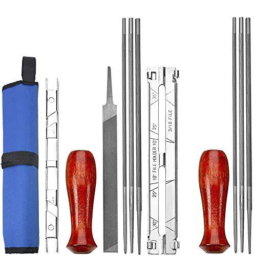 Yucool confezione da 12 per motoseghe file kit - 5/32, 3/16, 7/81,3 cm file (2 pezzi), manici in legno (2), calibro di profondità, archiviazione, guida, per attrezzi