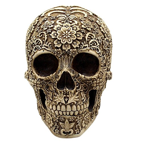 AOLVO - Resin Decorative Figure with Floral Skull design, 3D, engraved with Flowers, for Halloween, Spooky Gifts Collection (Gold)