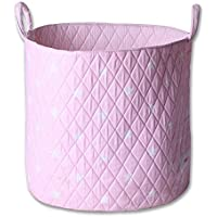 Minene Storage Basket, Round Storage Baskets, Large Fabric Storage Basket - Great for Toy Storage, kids Storage and As A Laundry Hamper Pink Star preiswert