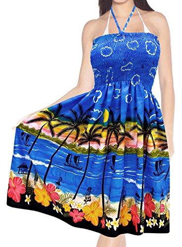 Ropa-de-Playa-del-traje-de-bao-corto-maxi-encubrir-traje-de-bao-del-tubo-midi-de-cuello-halter-top-azul
