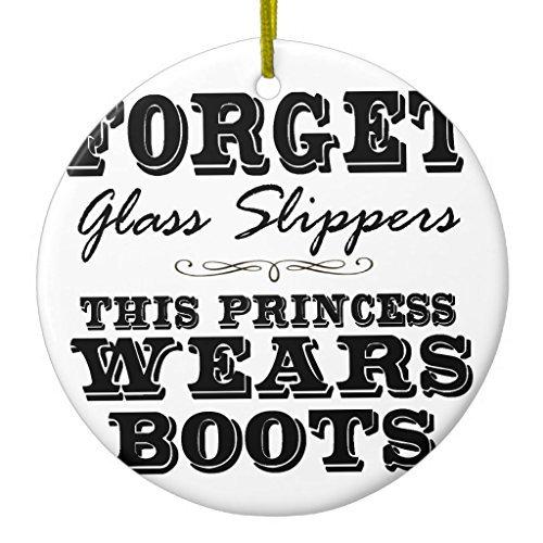Crafts vergessen Glas Hausschuhe, This Princess Wears Boots Ornament Kreis rund Weihnachten Weihnachtsbaumschmuck Jahrestag Geschenk ()