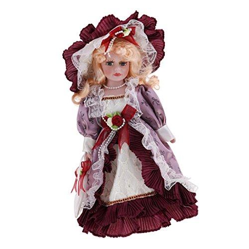 D DOLITY 30cm Porzellan-Puppe mit Halterung - Hübsche Viktorianische Mädchen Puppe mit Kleidung Dekoration - # D (Puppen Porzellan Hübsches)